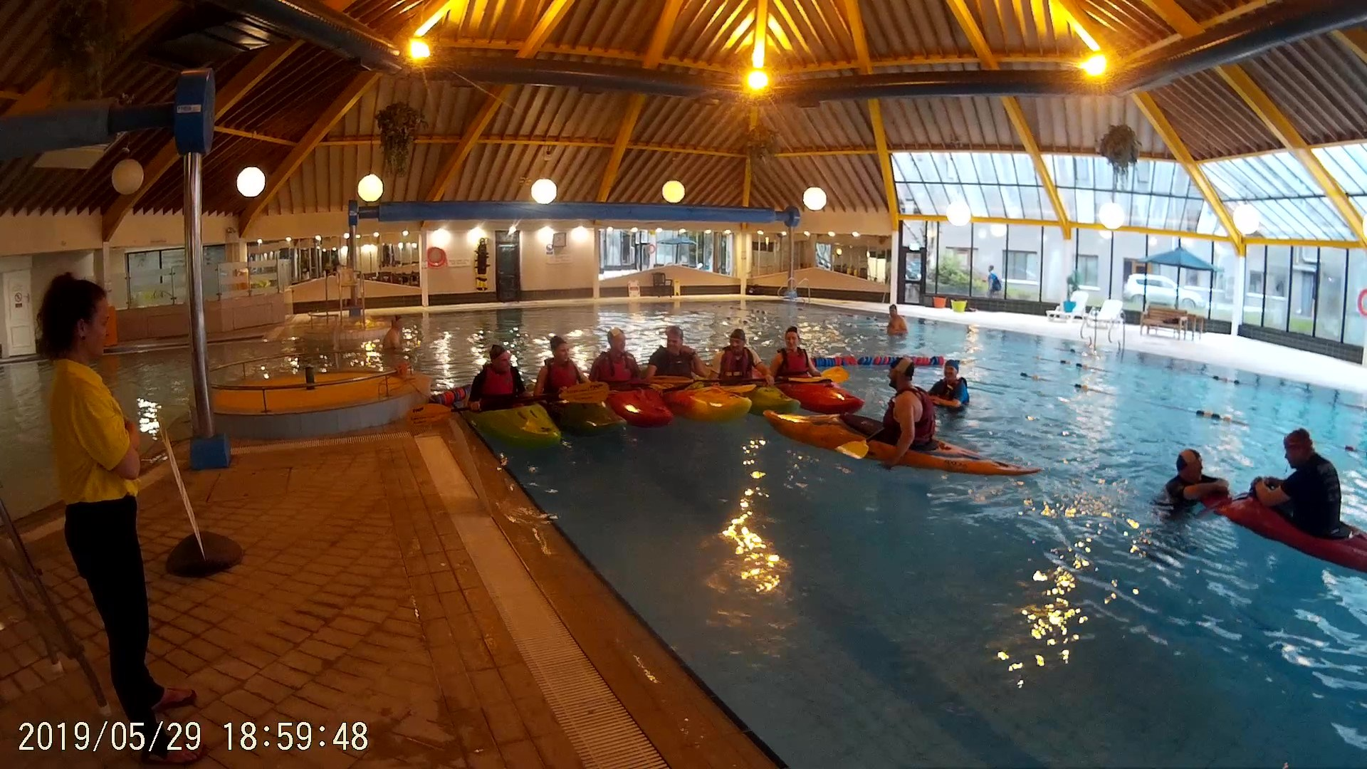 Kerry Canoe Club kayaking in a swimming pool, pool session